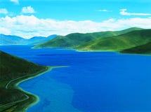Lago tso di Yamdrok Fotografia Stock Libera da Diritti