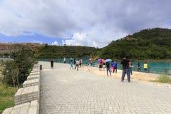 Lago turistico di qicaihu di visita Fotografie Stock