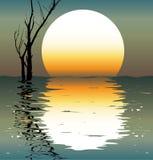 Lago. Uma cena da noite. ilustração royalty free