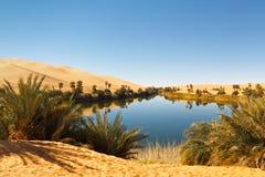 Lago Umm Alma - abandone oásis, Sahara, Líbia Imagem de Stock