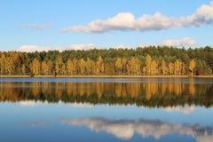 Lago in una foresta deliziosa di autunno al giorno soleggiato Alberi di autunno con la riflessione La Russia Immagini Stock Libere da Diritti