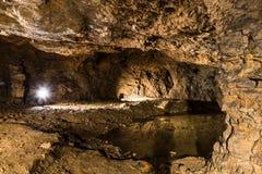 Lago in una miniera d'argento in Tarnowskie sanguinoso, sito di eredità dell'Unesco Fotografia Stock