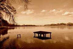 Lago in una seppia Fotografia Stock