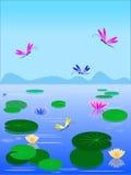 Lago vector con los lirios y las libélulas Fotos de archivo libres de regalías