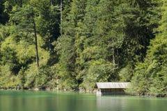 Lago verde Alpsee con la tettoia di canottaggio e gli alberi, Germania Fotografie Stock