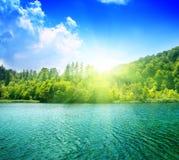 Lago verde dell'acqua Immagine Stock