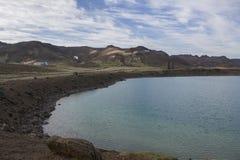 Lago verde en Krysuvik Foto de archivo libre de regalías