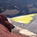 Lago Verde, a half-moon-shaped green lagoon at El Golfo in Lanzarote Royalty Free Stock Image