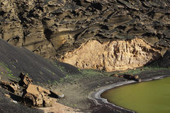 Lago verde Lanzarote Island. Eroded volcanic cliff on green lagoon El Golfo Lanzarote Stock Photography