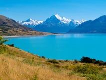 Lago verde smeraldo Pukaki, cuoco NP, NZ del ghiacciaio di Aoraki Mt Fotografie Stock