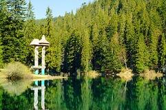 Lago verde smeraldo su un fondo delle alte montagne e della foresta verde, concetto di viaggio nel selvaggio, carpatico, Ucraina, Immagini Stock Libere da Diritti