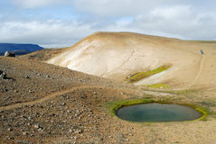 Lago vicino al cratere di Viti, a nord dell'Islanda Immagini Stock Libere da Diritti