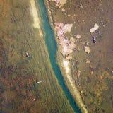 Lago view dell'uccello in autunno Fotografia Stock