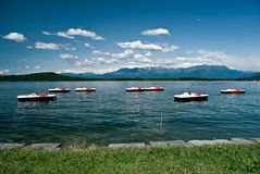 Lago Viverone, Piemonte, Italy. Lago Viverone with pedalos, Piemonte, Italy royalty free stock photography