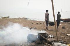 Lago Volta fishermen nella regione del Volta nel Ghana Fotografie Stock Libere da Diritti