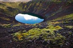 Lago vulcânico azul islandês da cratera de Kerid Imagem de Stock Royalty Free