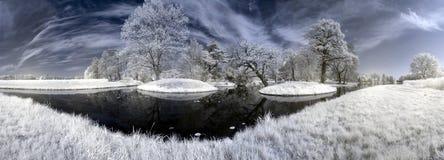 Lago Walloch con le isole Fotografia Stock