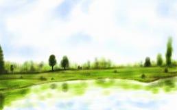 Lago watercolor Imagen de archivo libre de regalías