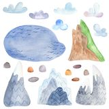 Lago watercolor, pietre, nuvole, montagne illustrazione vettoriale