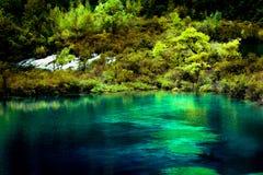 Lago y árboles en el valle Jiuzhaigou, Sichuan, China imagenes de archivo