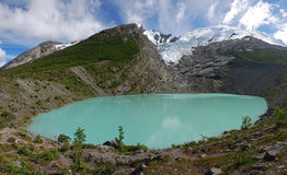 Lago y glaciar Huemul en Patagonia Imágenes de archivo libres de regalías