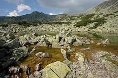 Lago y piedras junto Foto de archivo