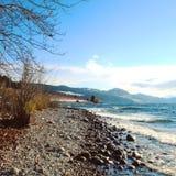 Lago y viñedos de la playa del invierno Fotos de archivo libres de regalías