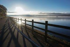 Lago Yamanaka nella stagione di autunno del Giappone immagine stock