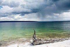 Lago Yellowstone em um dia nebuloso foto de stock