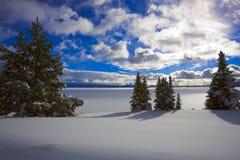 Lago Yellowstone en invierno imagen de archivo