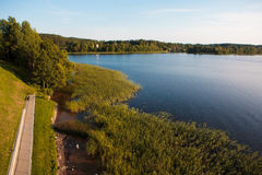Lago Zarasas nella città di Zarasai, Lituania fotografia stock libera da diritti