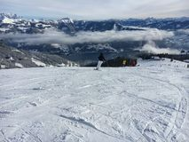Lago Zell all'area austriaca Schmitten dello sci nelle alpi tirolesi Immagine Stock