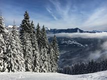 Lago Zell all'area austriaca Schmitten dello sci nelle alpi tirolesi Fotografia Stock Libera da Diritti