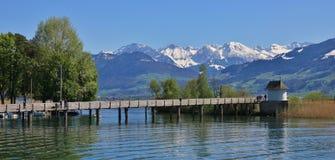Lago Zurichsee e montagne ricoperte neve Immagine Stock Libera da Diritti