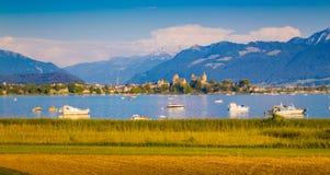 Lago Zurigo con la città storica di Rapperswil al tramonto, Svizzera Immagine Stock