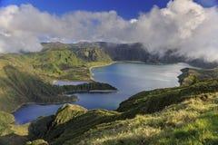 Lagoa做在亚速尔群岛的圣米格尔火山海岛上的Fogo 库存照片