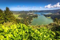Lagoa在亚速尔群岛海岛上的Sete Cidades 库存图片