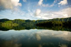 Lagoa Azul. Blue lake. Azores Stock Photo