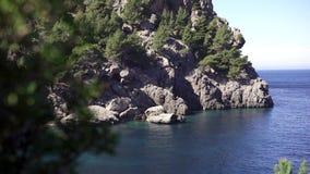 Lagoa azul bonita com rocha e árvores no dia ensolarado claro Arte Paisagem bonita do paraíso com águas azuis do mar vídeos de arquivo