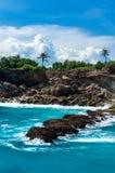 Lagoa azul com as palmas que crescem no penhasco Fotografia de Stock