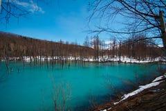 Lagoa azul de Biei Shirogane imagem de stock royalty free