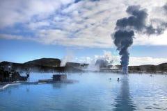 A lagoa azul Hot Springs geotérmica - Islândia Imagens de Stock