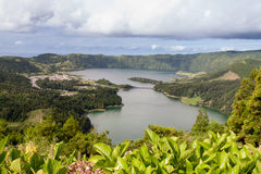 Lagoa Azul and Lagoa Verde with Ginger Lilys, Sao Miguel Royalty Free Stock Image
