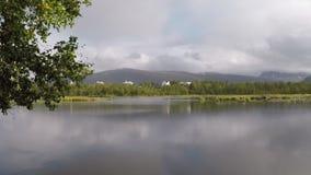 Lagoa bonita do verão na filtração video da vista geral clara da luz do sol à direita vídeos de arquivo