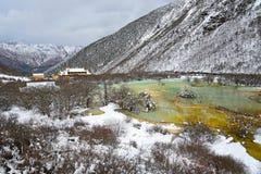 Lagoa colorida de Huanglong Imagens de Stock