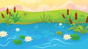 Lagoa com juncos e lírios Imagem de Stock Royalty Free