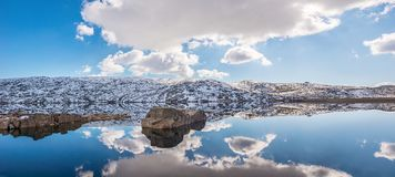 Lagoa Comprida Mountain Lake in Snowy Portuguese Natural Park stock images