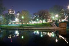 Lagoa da cisne do jardim de Boston Public Fotografia de Stock Royalty Free