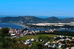 Lagoa da Conceição em Florianópolis - Santa Catarina - Brasil. Aerial view of the traditional neighborhood of Lagoa da Conceição, in Florianópolis, Santa Stock Photo