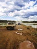 Lagoa da evaporação da mineração imagens de stock